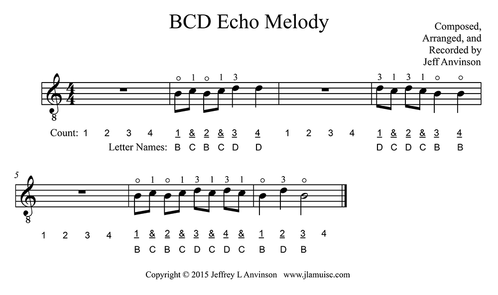 """BCD Echo Melody"" - Music to Practice the Notes B, C, and D in First Position on the Second String of the Guitar, Copyright 2015 Jeffrey Anvinson"