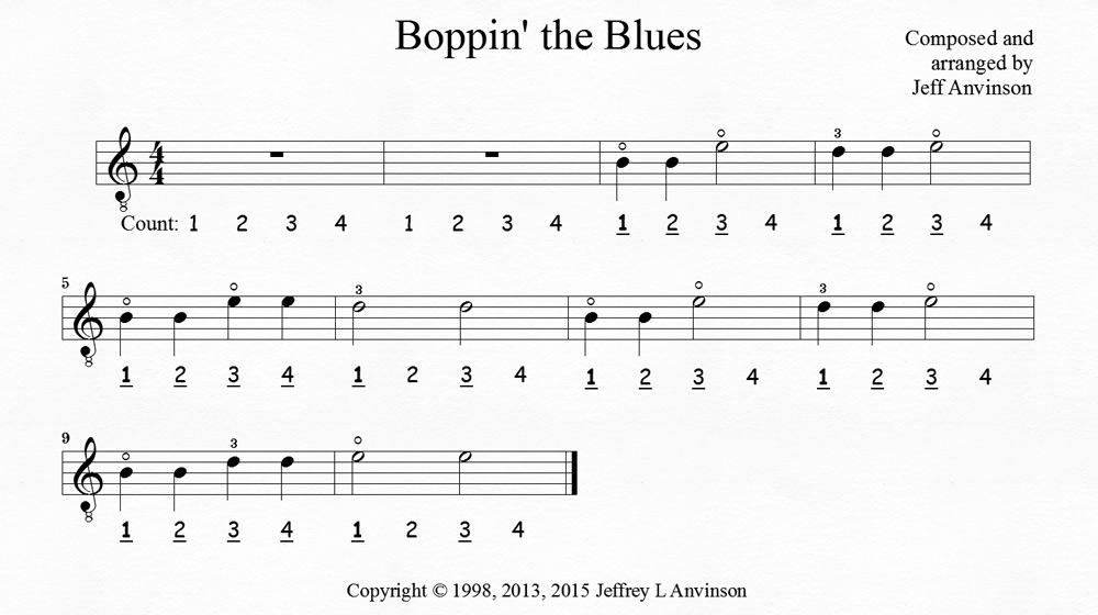 """Boppin' the Blues"", a Guitar Piece to Help You Learn the Notes B, D, and E - Copyright 2015 Jeffrey Anvinson"