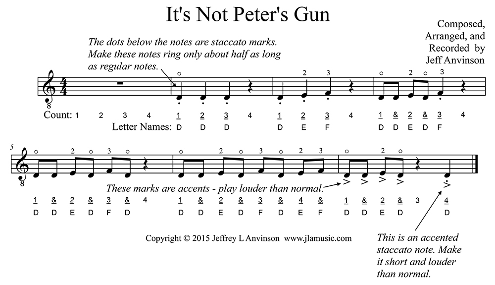 "Practice the Notes D, E, and F in the First Position on the Fourth String of the Guitar: ""It's Not Peter's Gun"""