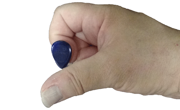 Step Three to Holding a Guitar Pick: Place the Pick on the Side of the Tip Sement of Your Index Finger