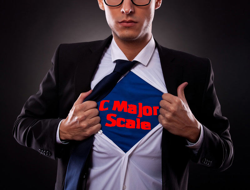 Super Man with C Major Scale T-Shirt
