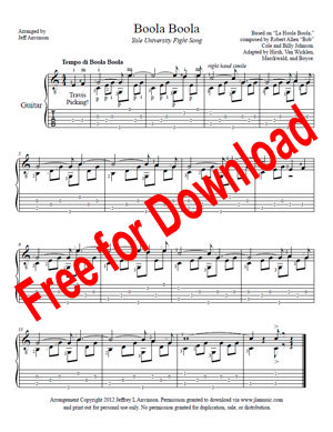 Boola Boola for Guitar Solo, Arranged by Jeff Anvinson. Free Download.