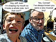 Conrad and Jeff at JLA Music - Comic Version